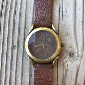 🎁 Fab Lucky Brand Distressed Peace Leather Watch!
